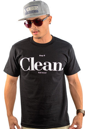 CLEAN | White on Black T_shirt