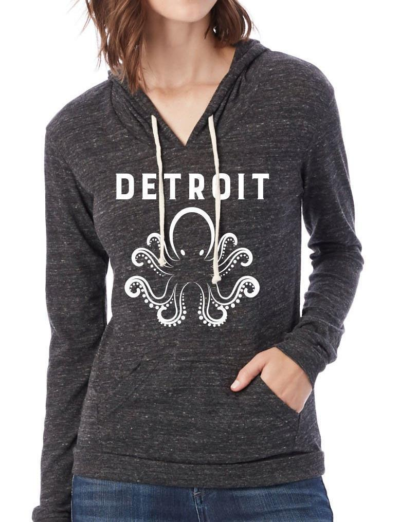 Women's Detroit Octopus Eco-Jersey Hooded Pullover - Breathe in Detroit