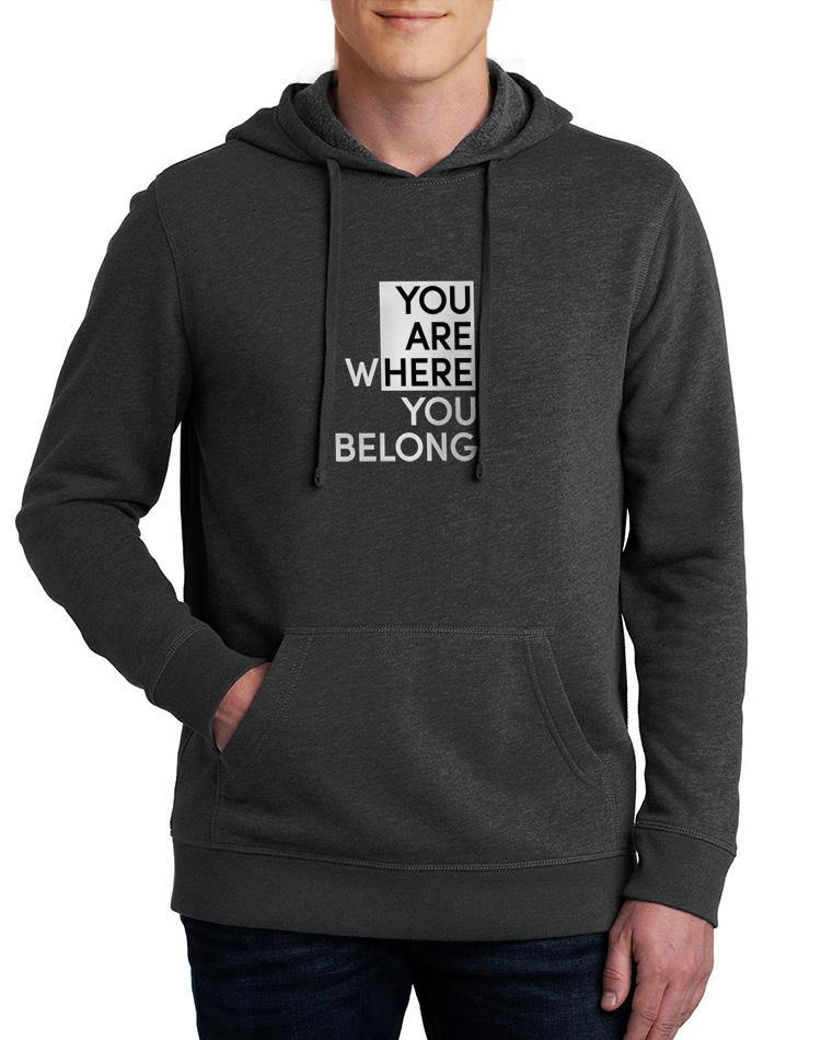 Unisex You Are Here Blended Fleece Hoodie - Breathe in Detroit
