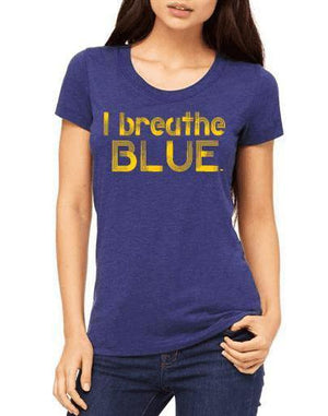 Women's Blue Tee - I Breathe Blue - Breathe in Detroit
