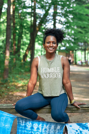 Women's Humble Warrior Olive Racer Crop Tank - Breathe in Detroit