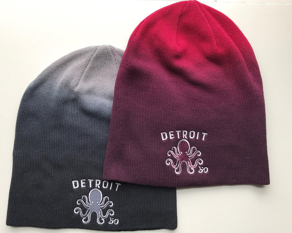 Detroit Octopus Slouchy Dip Dyed Beanie - Breathe in Detroit