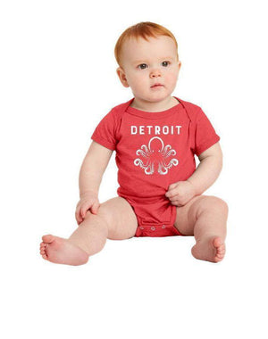 Detroit Octopus Baby Bodysuit (Onesie) - Breathe in Detroit