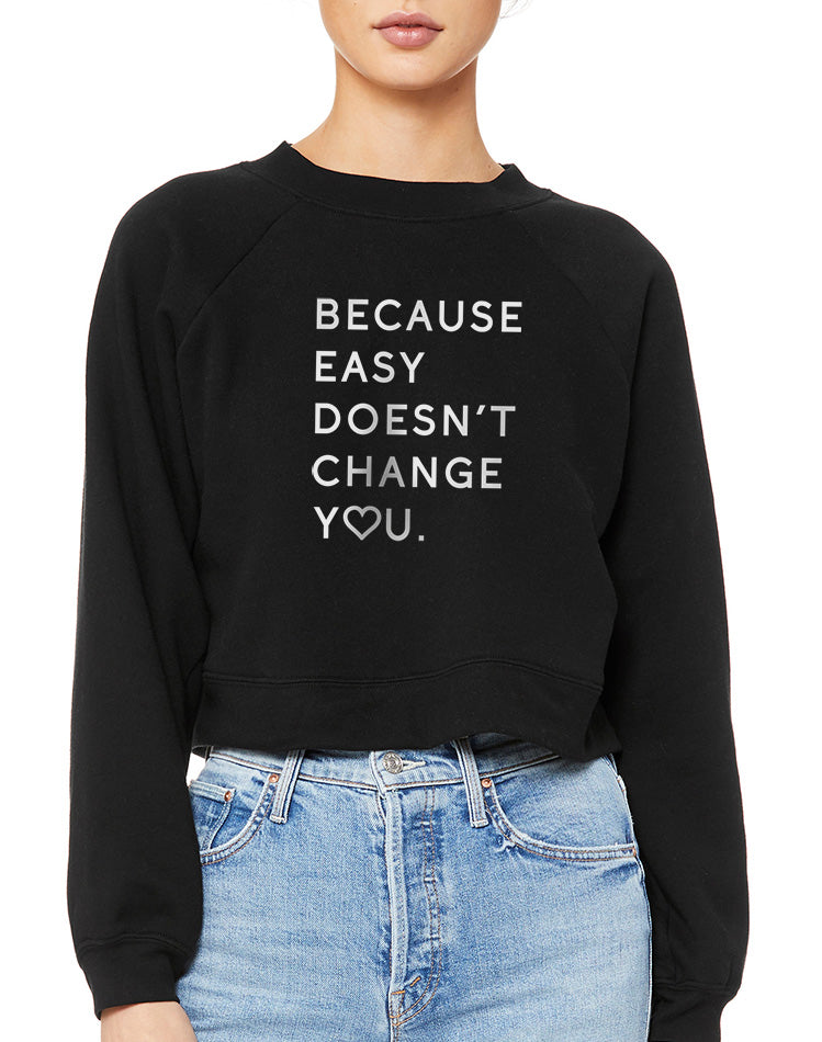 Women's Because Easy Doesn't Raglan Fleece Pullover - Breathe in Detroit