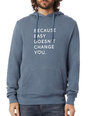 Unisex Because Easy Doesn't Washed Terry Pullover Hoodie - Breathe in Detroit