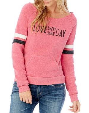 Women's Love Every Damn Day Berry Maniac Sweatshirt - Breathe in Detroit