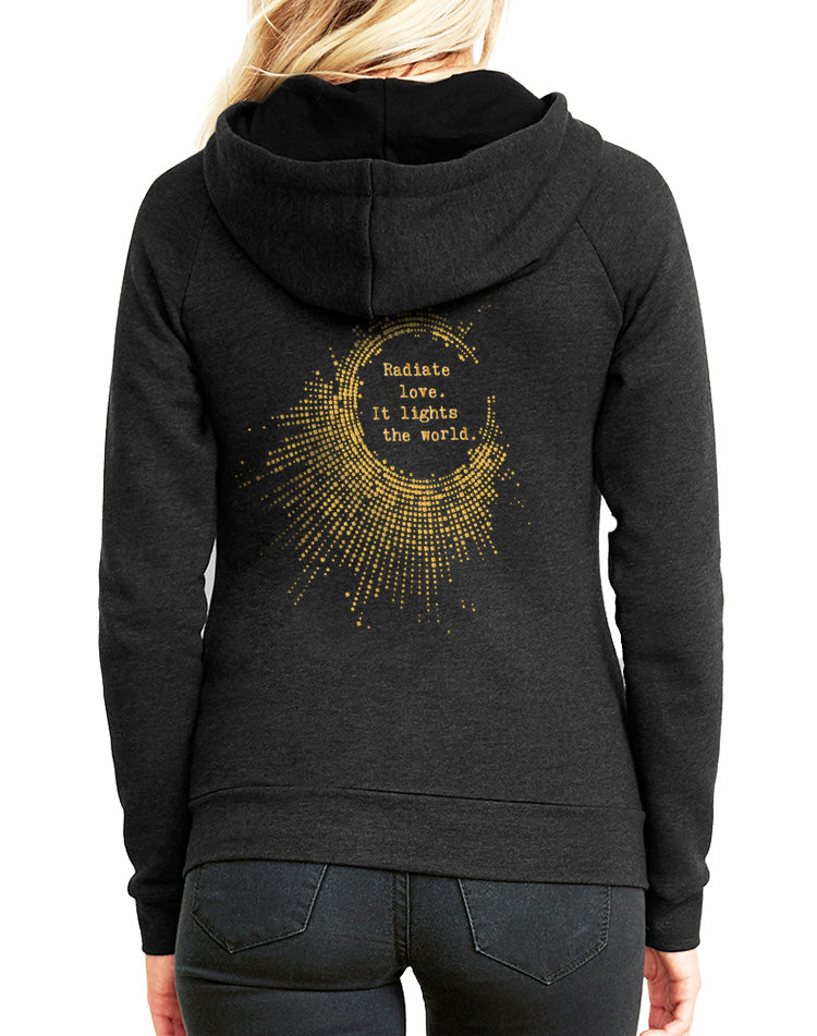 Women's Gold Shimmer Radiate Love Favorite Fleece Zip Hoodie - Breathe in Detroit