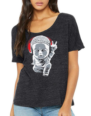 Women's Little Buddha Slouchy Slub Charcoal Tee - Breathe in Detroit