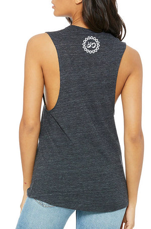 Women's Little Buddha Muscle Tank - Breathe in Detroit