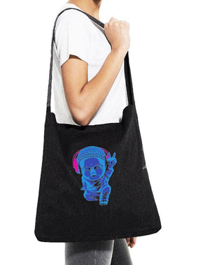 Little Buddha Cotton Canvas Sling Tote Bag - Breathe in Detroit
