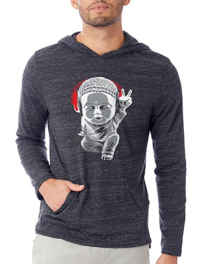 Unisex Little Buddha Eco Hooded Pullover - Breathe in Detroit