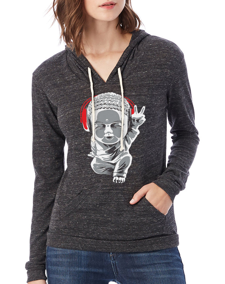 Women's Little Buddha Eco-Jersey Pullover Hoodie - Breathe in Detroit