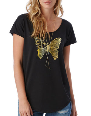 Women's Gold Shimmer Your Wings Are Ready Modal Tee - Breathe in Detroit