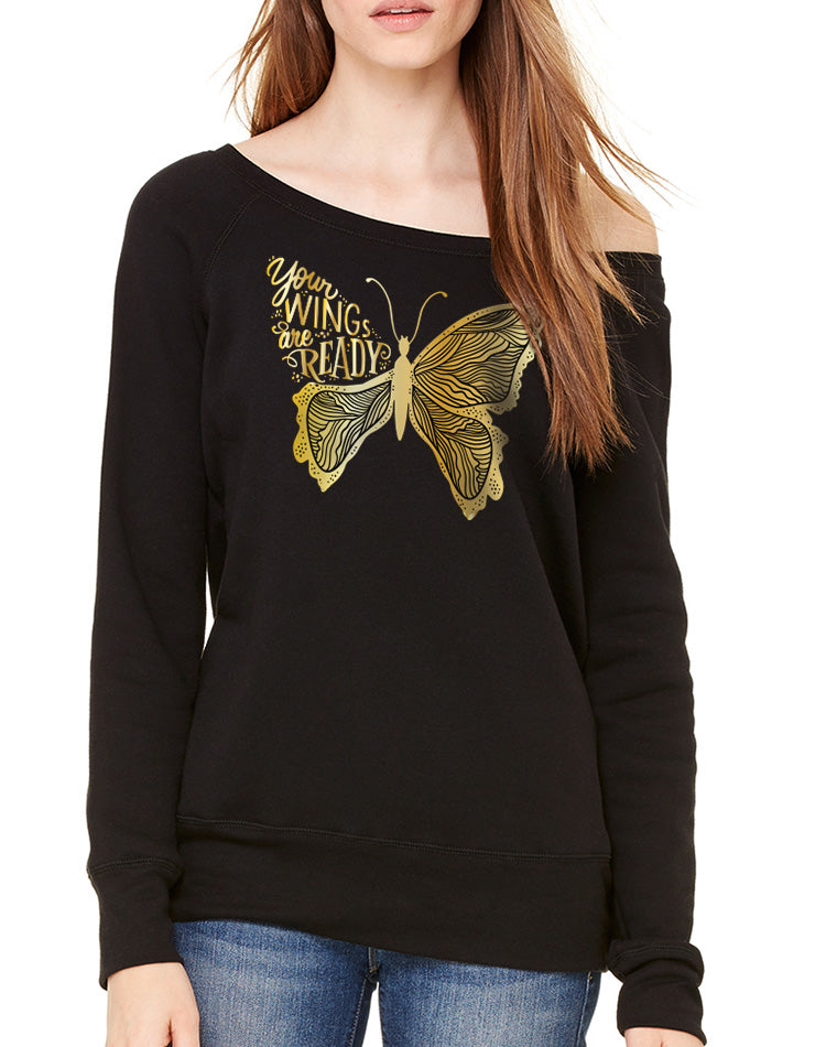 Women's Gold Shimmer Your Wings Are Ready Wide Neck Sweatshirt - Breathe in Detroit