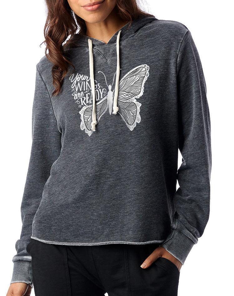 Women's Your Wings Are Ready French Terry Pullover Hoodie - Breathe in Detroit