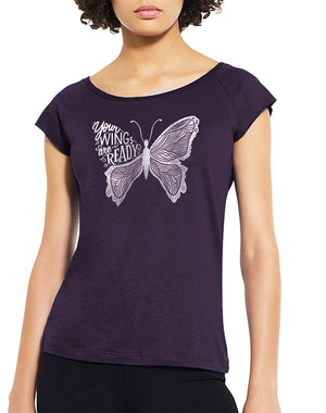 Women's Your Wings Are Ready Bamboo Raglan Tee - Breathe in Detroit
