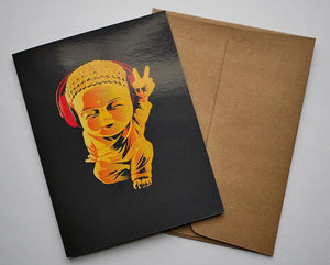 Golden Buddha Greeting Card - Breathe in Detroit