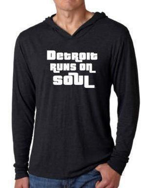 Unisex Detroit Runs on Soul Hooded Long-Sleeve Tee - Breathe in Detroit