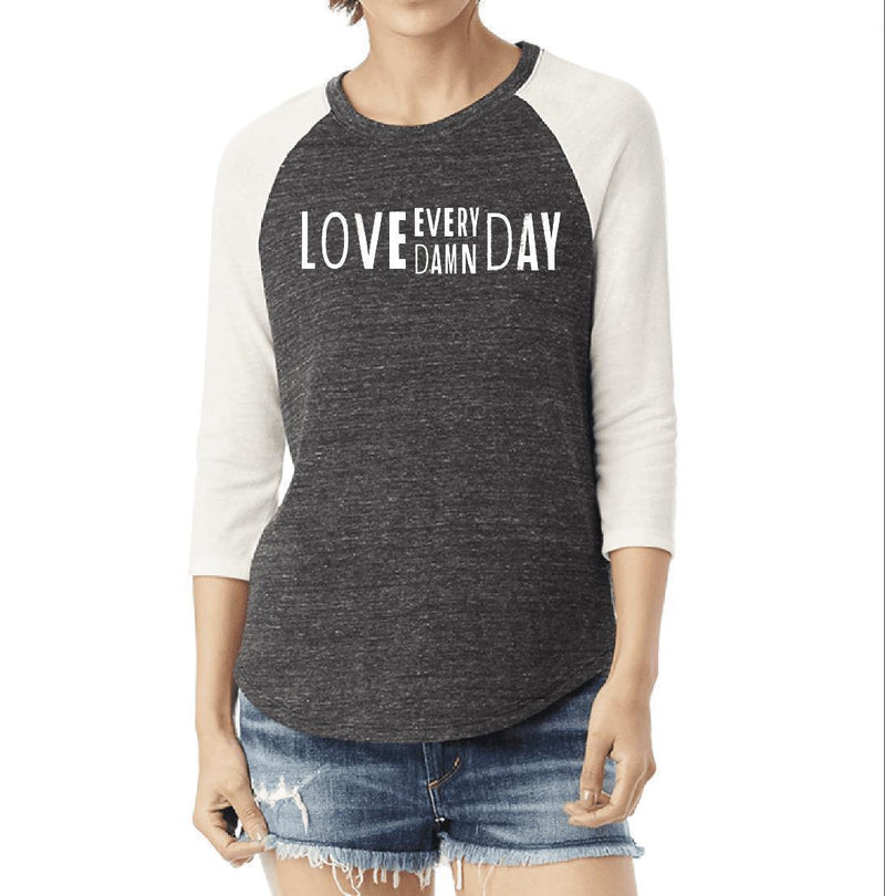 Women's Love Every Damn Day Eco-Raglan Baseball Tee - Breathe in Detroit