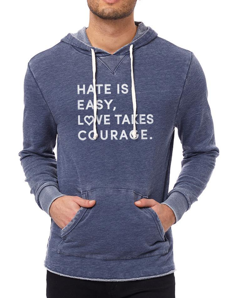 Unisex Love Takes Courage French Terry Pocket Hoodie - Breathe in Detroit