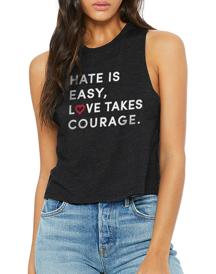 Women's Love Takes Courage Black Detail Crop Tank - Breathe in Detroit