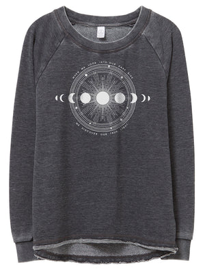 Women's Moon Shadow Loved-In French Terry Pullover - Breathe in Detroit