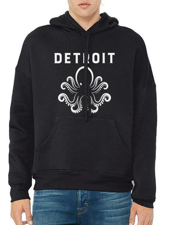 Unisex Detroit Octopus Sponge Fleece Pullover Hoodie - Breathe in Detroit