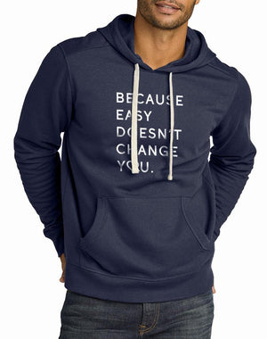 Unisex Because Easy Doesn't True Recycled Pullover Hoodie - Breathe in Detroit