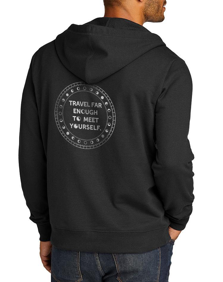Unisex Travel Far Enough True Recycled Fleece Zip Hoodie - Breathe in Detroit