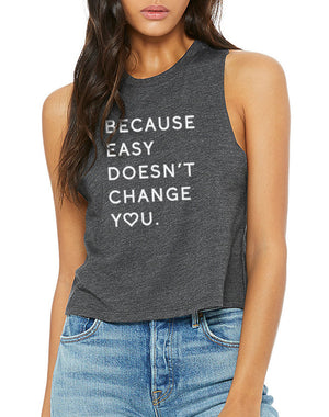 Women's Because Easy Doesn't Racer Crop Tank - Breathe in Detroit
