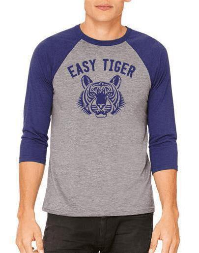 Unisex Easy Tiger 3/4 Sleeve Raglan Baseball Tee - Breathe in Detroit