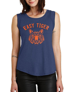 Women's Easy Tiger Cap-Sleeve Satin Jersey Tee - Breathe in Detroit