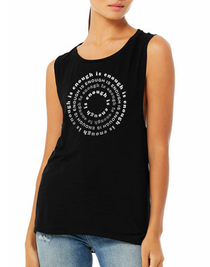 Women's Enough Is Enough Black Slub Muscle Tank - Breathe in Detroit