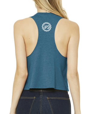 Women's Crank Dat Ujjayi Racer Crop Tank - Breathe in Detroit