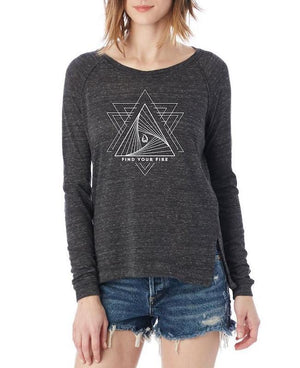 Women's Find Your Fire Long-Sleeve Raglan Pullover - Breathe in Detroit