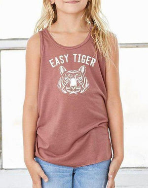 Girls Easy Tiger Flow Tank - Breathe in Detroit