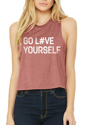 Women's Go Love Yourself Racer Crop Tank - Breathe in Detroit