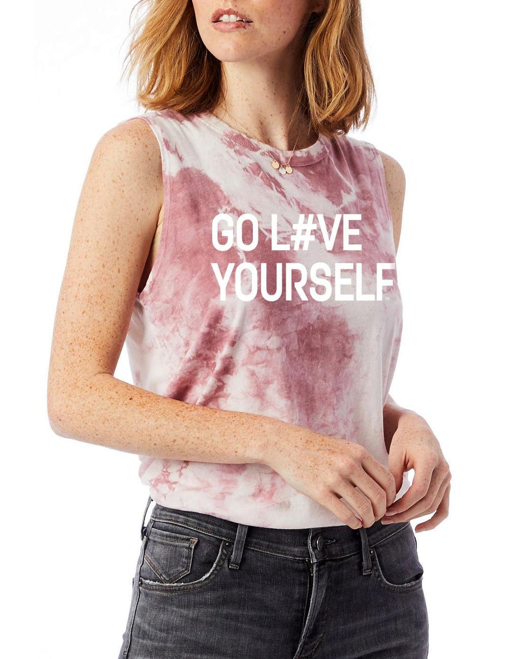 Women's Go Love Yourself Tie-Dye Muscle Tank - Breathe in Detroit