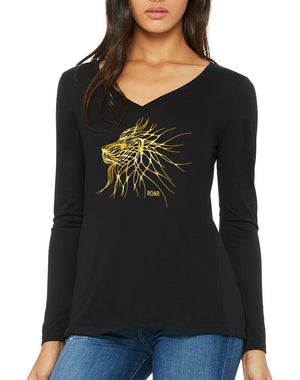 Women's Gold Shimmer Roaring Lion Flowy V-Neck - Breathe in Detroit