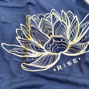 Women's Rising Lotus Gold Shimmer Strappy Tank - Breathe in Detroit