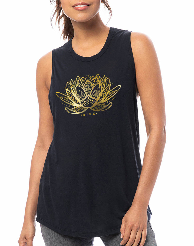 Women's Gold Shimmer Rising Lotus Slinky Muscle Tank - Breathe in Detroit
