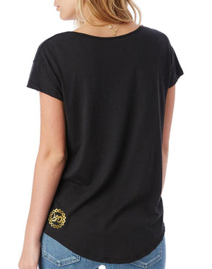 Women's Gold Shimmer Travel Far Enough Flowy Modal Tee - Breathe in Detroit
