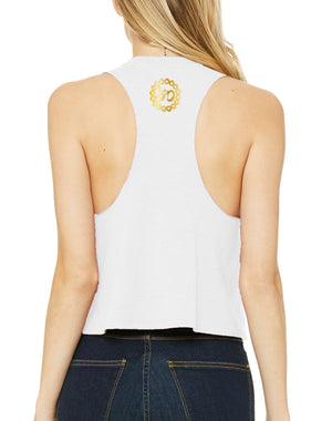 Women's Gold Shimmer Rising Lotus Racer Crop Tank - Breathe in Detroit