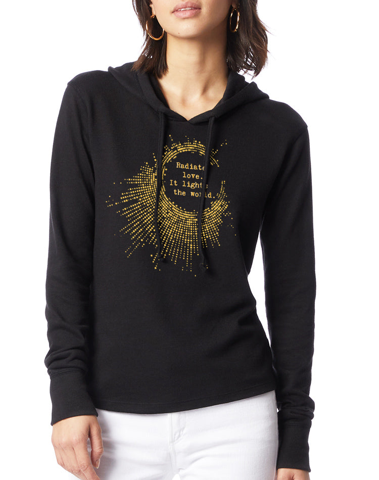 Women's Gold Shimmer Radiate Love Vintage Knit Pullover - Breathe in Detroit