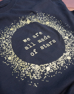 Women's Gold Shimmer Stars Flowy Modal Tee - Breathe in Detroit