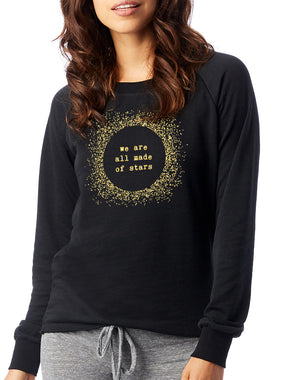 Women's Gold Shimmer Stars Loved-In Pullover - Breathe in Detroit