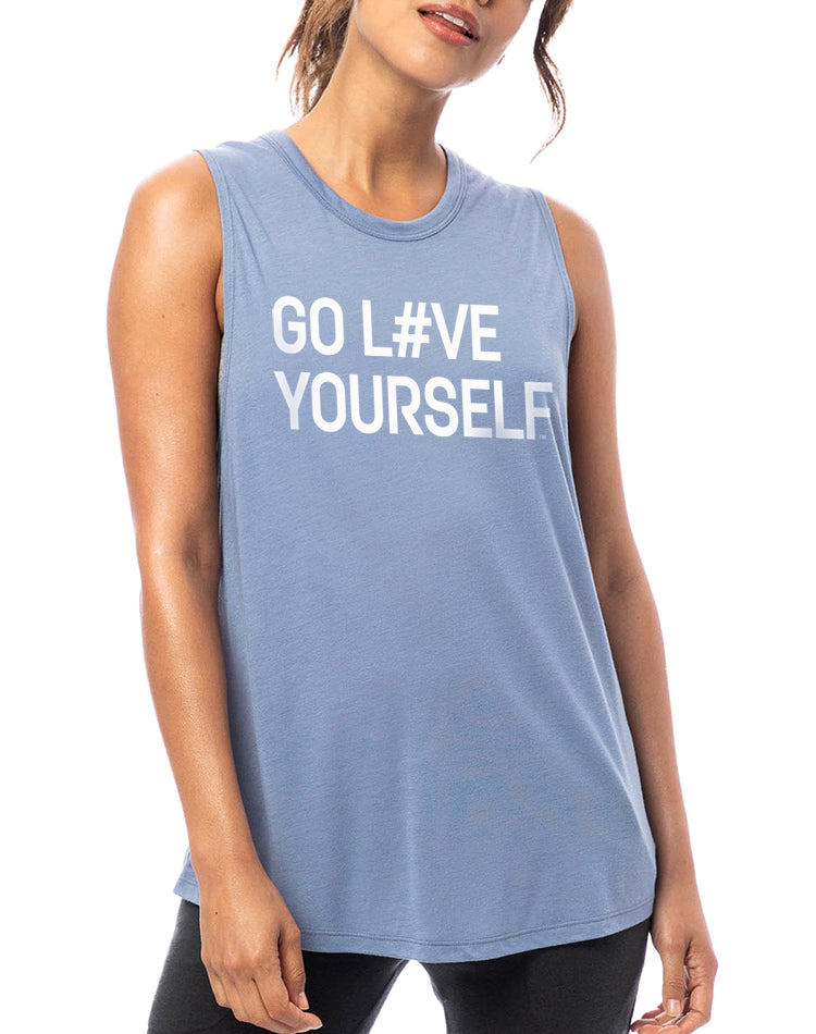 Women's Go Love Yourself Slinky Muscle Tank - Breathe in Detroit