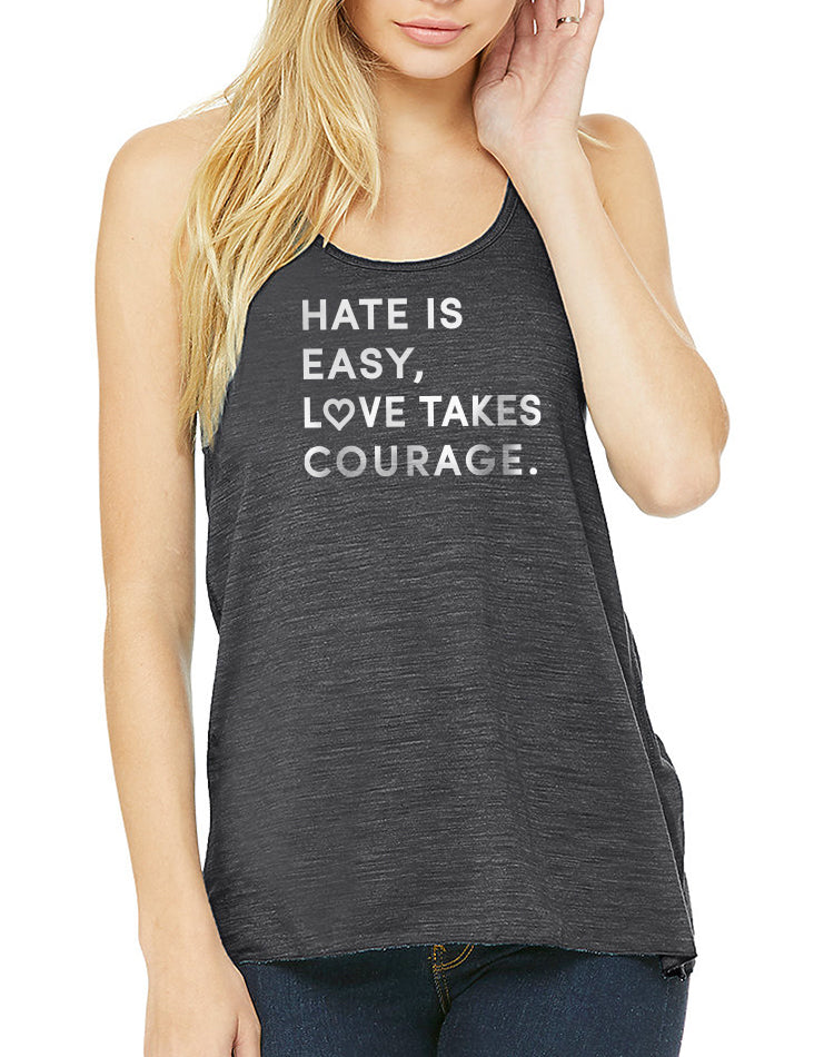 Women's Love Takes Courage Slub Flow Tank - Breathe in Detroit