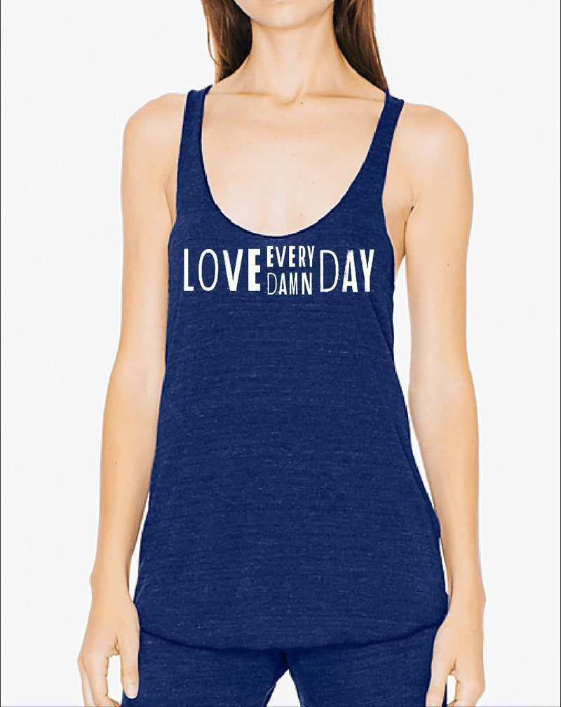 Women's Love Every Damn Day Heather Fly Triblend Tank - Breathe in Detroit