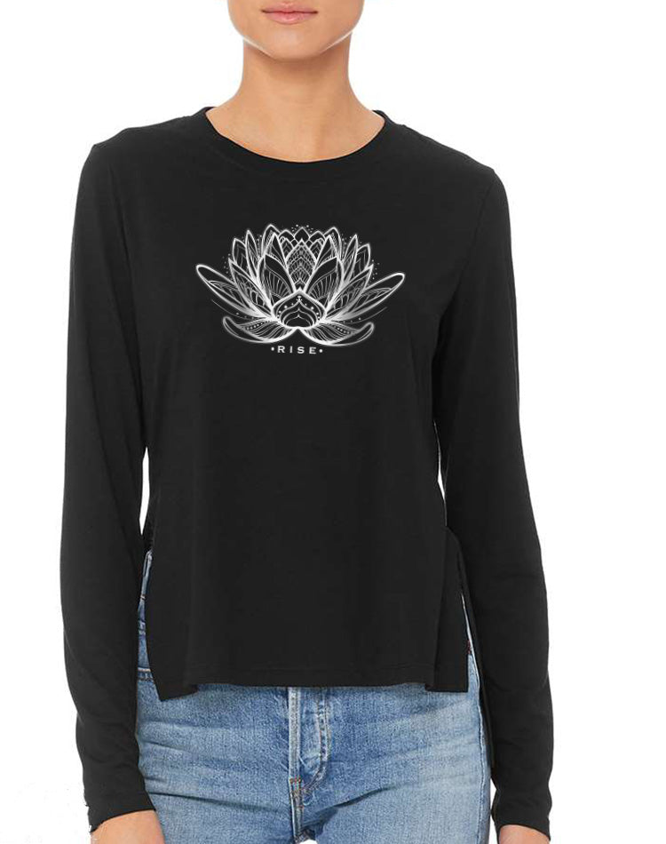 Women's Lotus Long Sleeve Side Slit Tee - Breathe in Detroit